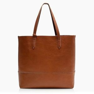 J. Crew Cognac Leather Downing Tote with Wristlet